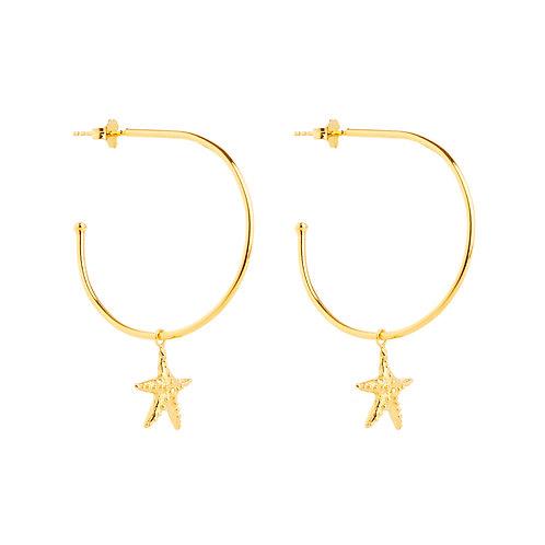 Sea star charm hoops