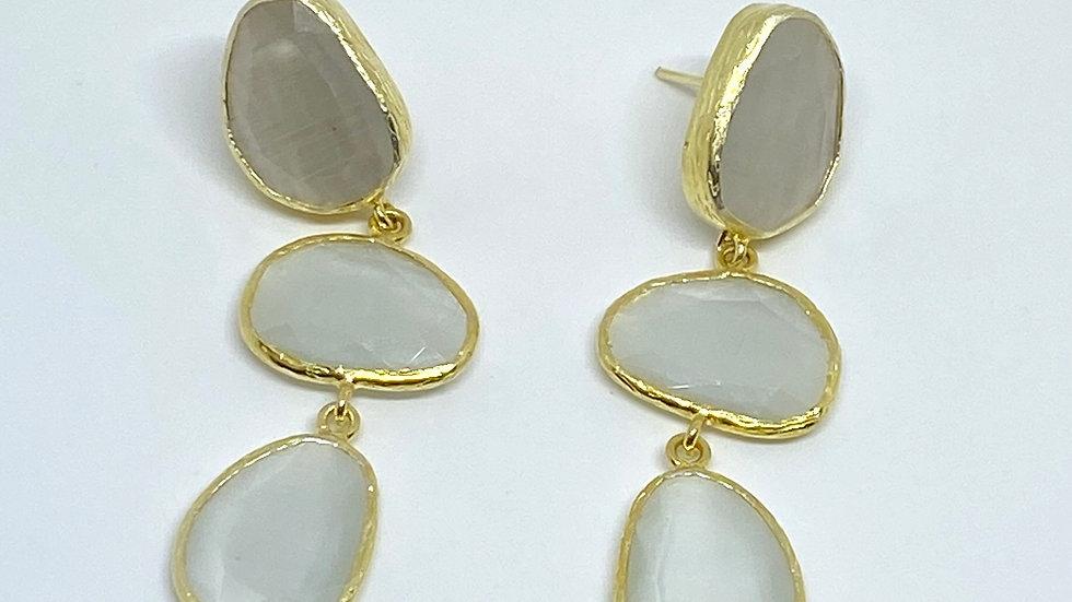 White Quartz 3 drop earrings