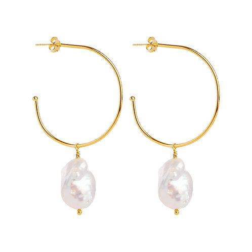 Baroque Pearl charm hoops