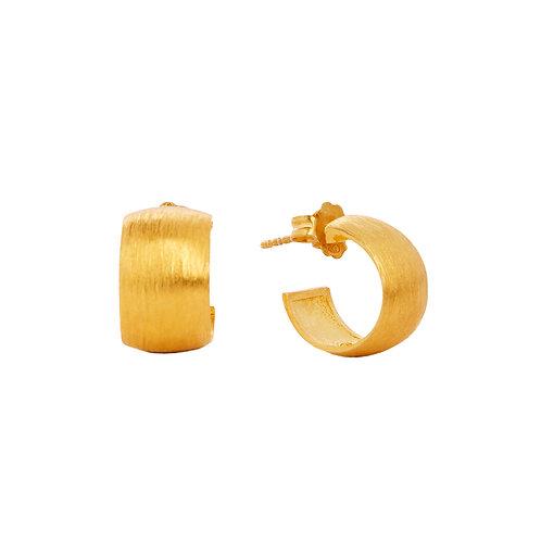 Brushed gold mini hoops