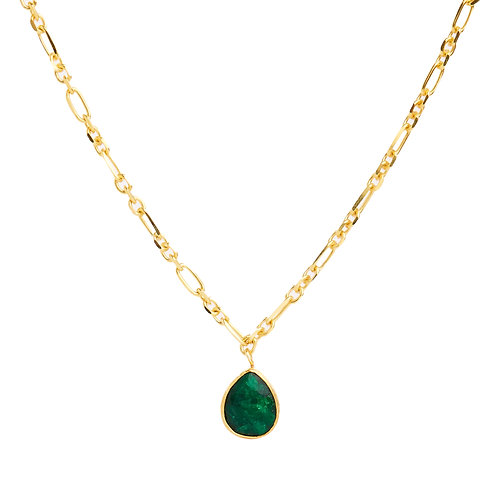Textured Emerald charm necklace