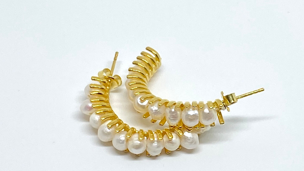 Threaded Pearl half hoops