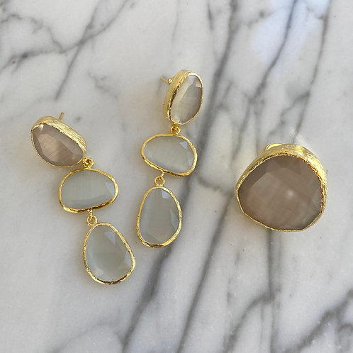 White Quartz triple drop earrings