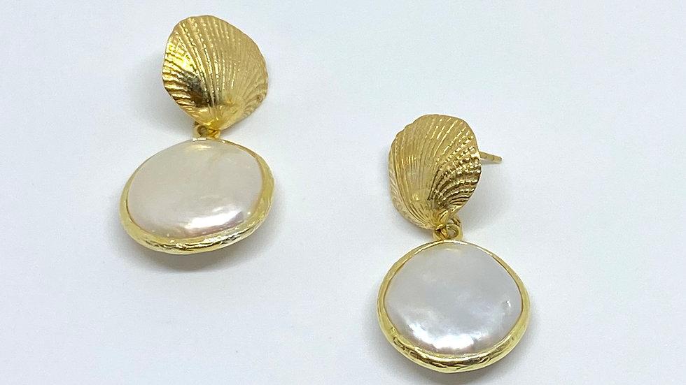 Mother of Pearl shell drop earrings