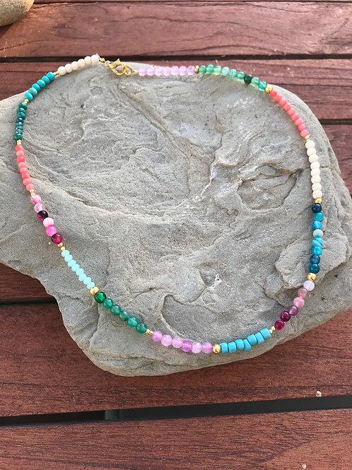 Gargantilla multicolor oro MIXIKA
