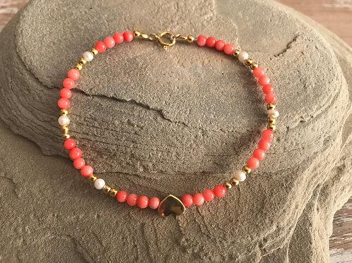 Mixika pulsera corazón,perla y Jade rojo