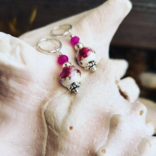 Pendientes flor rosa MIXIKA