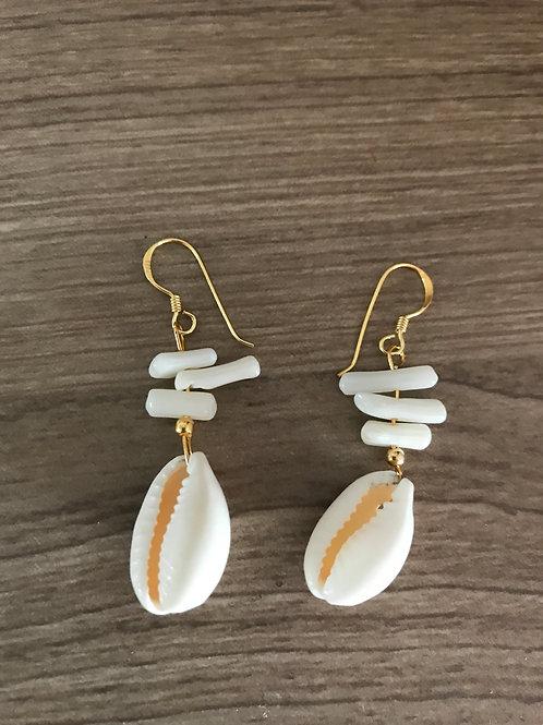 Pendientes concha coral blanco Mixika