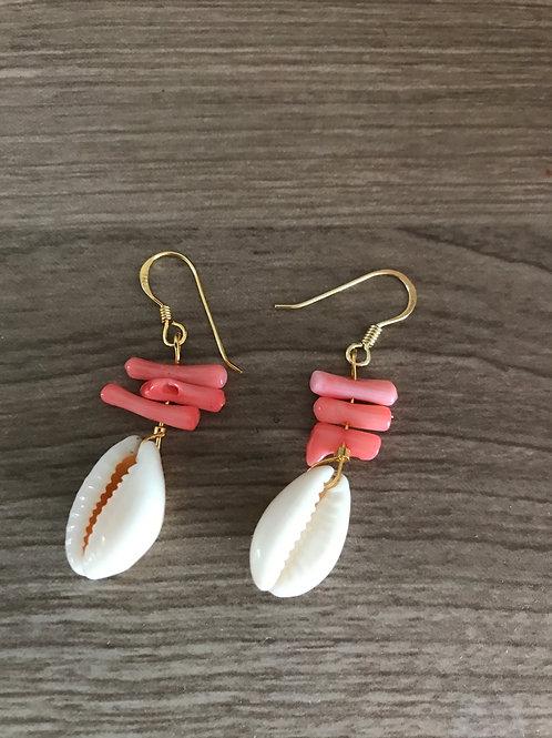 Pendientes concha coral rojo Mixika