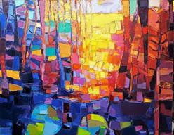 Golden Sunlight In The Midsummer Evening And A Blue Bridge.