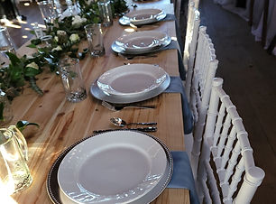 dusty blue napkins silver beaded charger