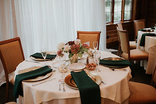 guest tables with gold plain edge charge