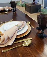 tan table gold charger brown vintage gla