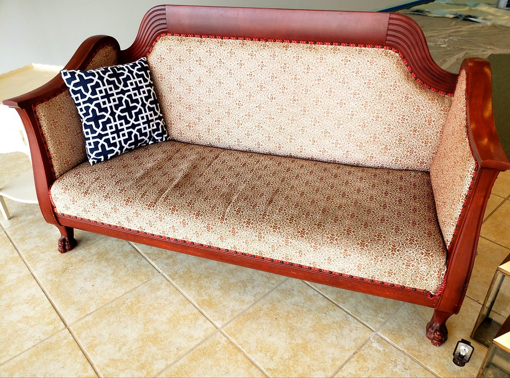 This amazing antique was inherited by my husband. It is available for rent! Add some throw pillows to tie in your colors!