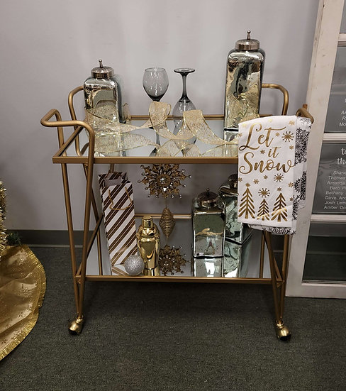 Gold and Mirror Bar Cart