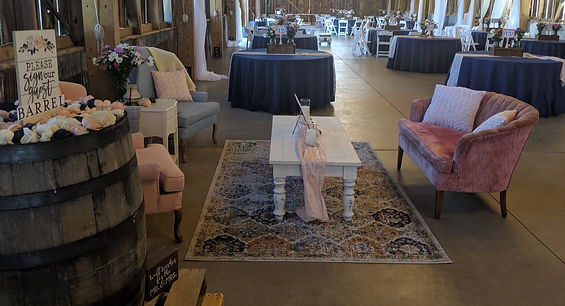 vintage blush and blue lounge rustic