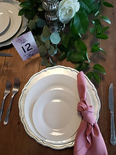knotted mauve solid napkin with silver s