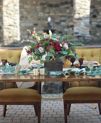 gold vintage chairs farm table center vi