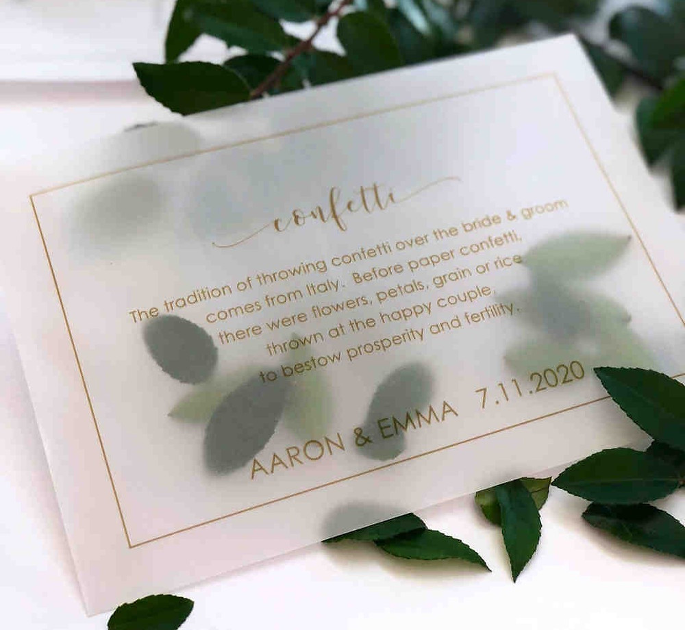 This vellum card explains to your wedding guests about the use of confetti. Guests LOVE guidance and direction at weddings!