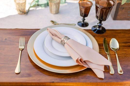 flatlay camel napkins vintage ring compr