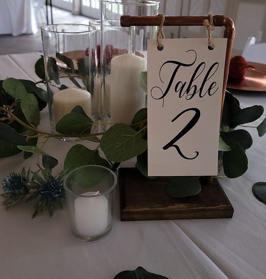 Handcrafted Copper and Wood Table Number