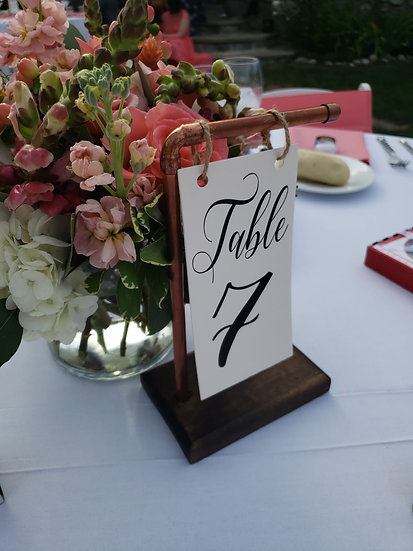 Handcrafted Metal and Wood Table Number