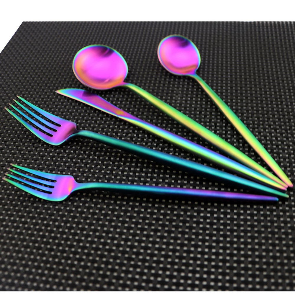 Choose from iridescent silverware to match a jewel tone style or a cake cutting set.