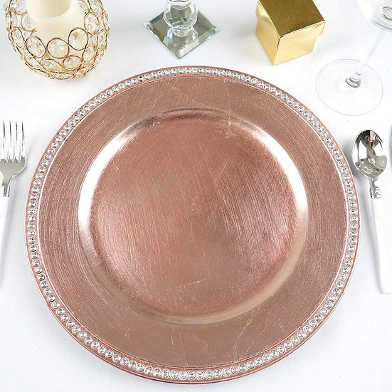 Crystal Beaded Edge Charger Plates
