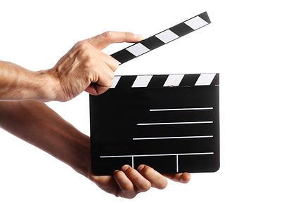 Two hands holding a cinema clap isolated
