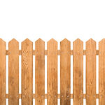 Brown wooden fence isolated on white bac