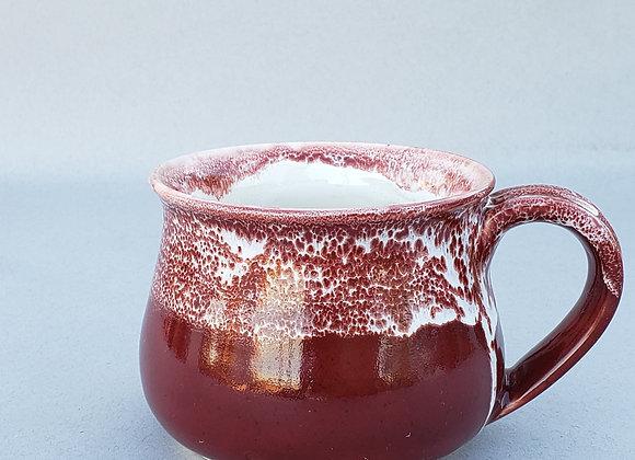 Mug, 12.7 oz, porcelain, burgundy and white