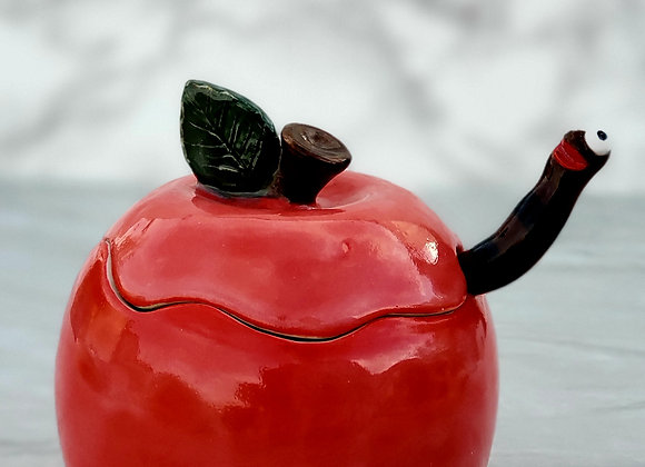 Sugar dish, Red Apple with Worm