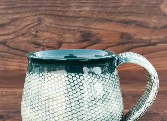 Mug, 8.5 Oz  Snakeskin Pattern in Dark Turquoise