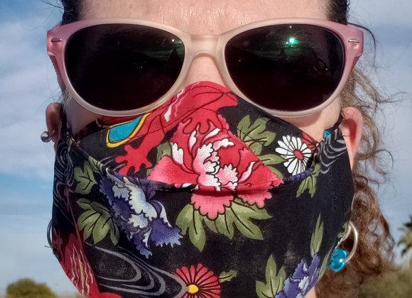 Super Comfortable No Fog Face Mask  frogs n floral