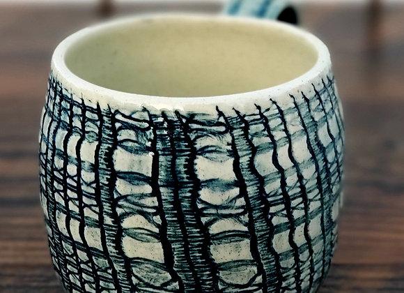Mug, 16 oz Teal Plaid Textured