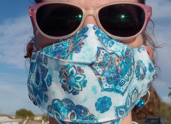 Super Comfortable No Fog Face Mask teal paisley