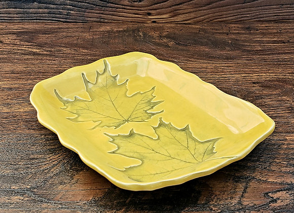 Tray, with Leaf Impressions in Yellow Glaze