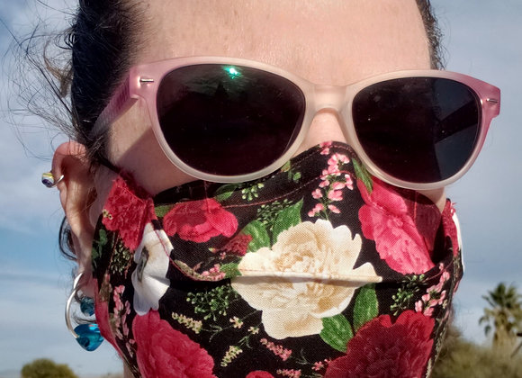 Super Comfortable No Fog Face Mask  red roses