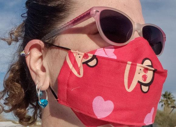 Super Comfortable No Fog Face Mask monkey hearts