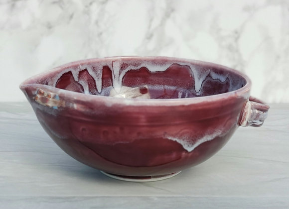 Batter Bowl in Burgundy and White