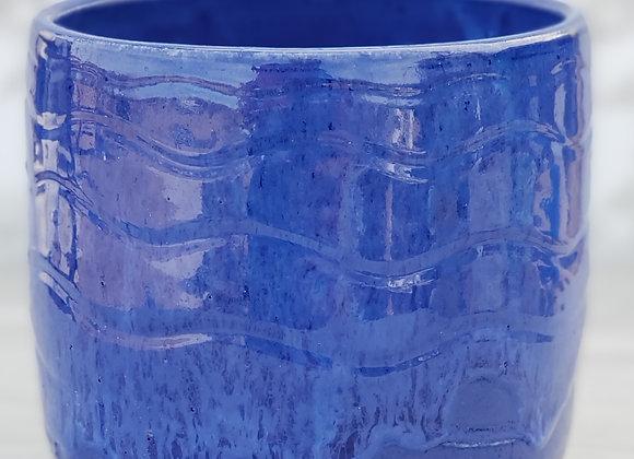 Vass/Utensil Holder in Blue with Carvings