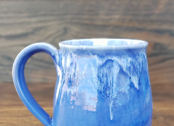 Mug, 13.5 oz in light blue with white drips