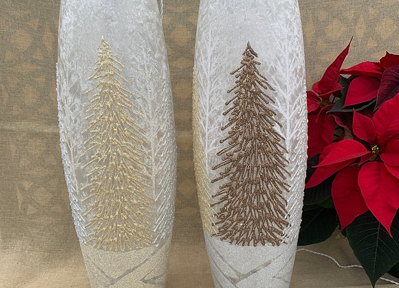 Lighted Lg Oval Vase - Sparkly Trees