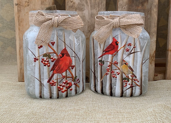 Lighted Jar Vase - Cardinal