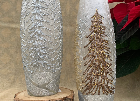 Lighted Sm Oval Vase - Sparkly Trees