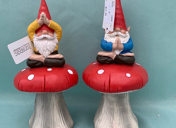 Gnome doing Yoga on a Mushroom