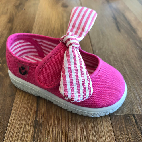 Victoria Hot Pink Stripe Bow MaryJane