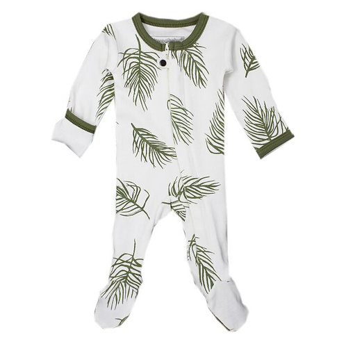 L'ovedbaby Zip Footed Overall Sage Palm