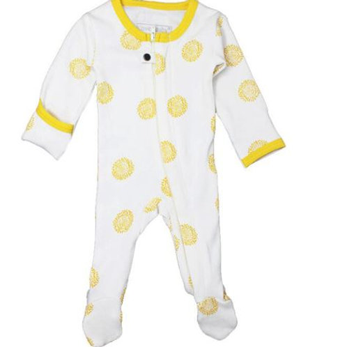 L'ovedbaby Zip Footed Overall Yellow Sunflower