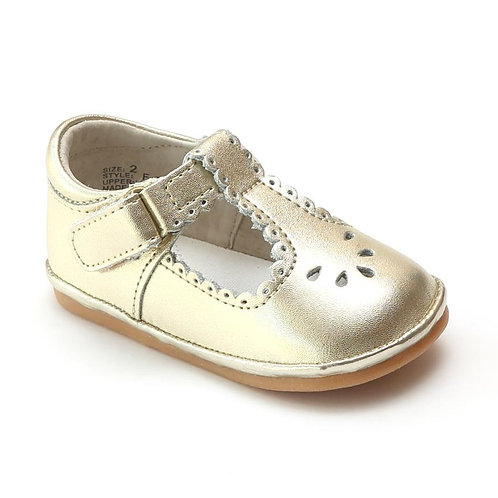 Angel Baby T-Strap Shoe Gold Scalloped